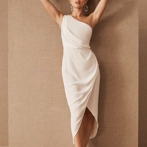 Significant Other Agnes One-Shoulder Crepe Midi Dress in White Ivory size 4